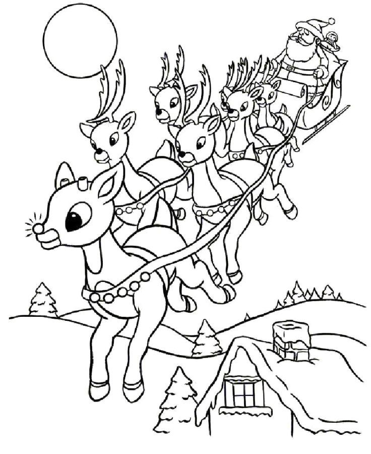 Rudolph And Santa Leigh Reindeers Coloring Page Reindeer Pages Cute Animal Free Online