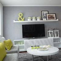 Blanco Interiores Great Tv Area By With White Sideboard Green Accents Find This Pin And More On My Grey Living Room Ideas