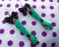 Psychobilly Bloody Zombie Girl Doll Earrings!