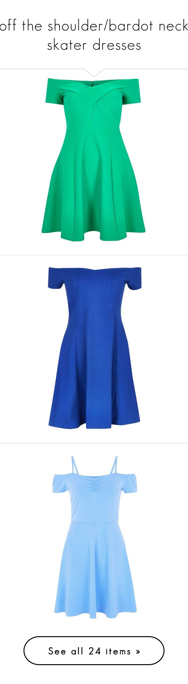 """""""off the shoulder/bardot neck skater dresses"""" by lulucosby ❤ liked on Polyvore featuring dresses, river island, green, sale, green skater dress, circle skirt, green dress, flared skirt dress, flared dresses and blue"""