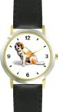 Reviews Saint Bernard Dog - WATCHBUDDY® DELUXE TWO-TONE THEME WATCH - Arabic Numbers - Black Leather Strap-Children's Size-Small ( Boy's  Special offers - http://greatcompareshop.com/reviews-saint-bernard-dog-watchbuddy-deluxe-two-tone-theme-watch-arabic-numbers-black-leather-strap-childrens-size-small-boys-special-offers