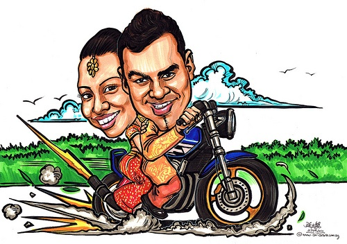 motorcycle caricature drawing  | ... : caricature , couple caricatures , Facebook , wedding caricature