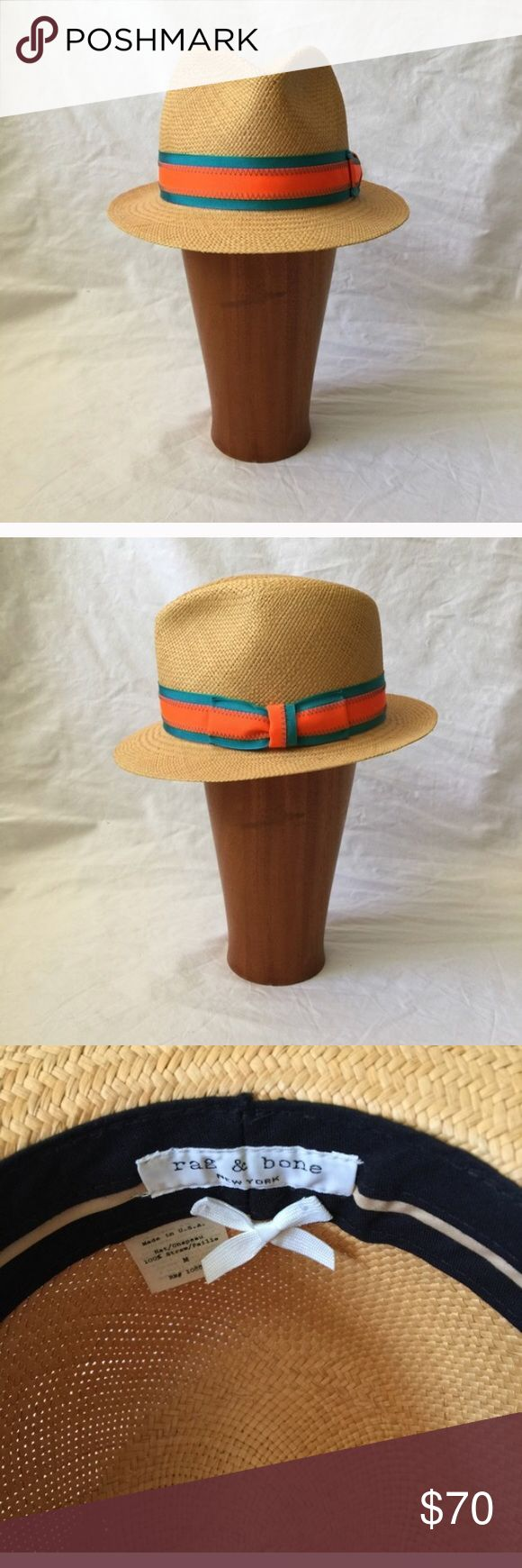 Rag & Bone Bristol Straw Fedora M 🇺🇸sale 🇺🇸 100% Natural Woven Straw Fedora. Made in USA. Purchased here but didn't work for me rag & bone Accessories Hats