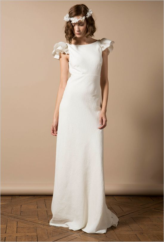 Simple and flattering wedding gown with flutter cap sleeve by Delphine Manivet. ---> http://www.weddingchicks.com/2014/06/05/delphine-manivet-wedding-dresses/