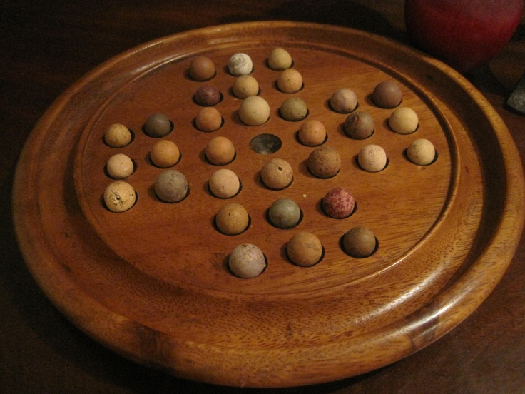 Antique 1800s Hand Turned Solitaire Game Board with Antique Clay Marbles  Sold North Bayshore Antiques