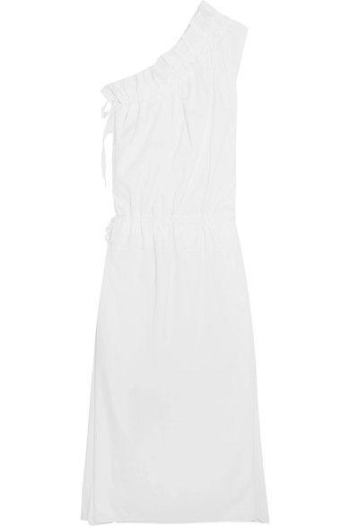 Georgia Alice - One-shoulder Ruffled Cotton-poplin Maxi Dress - White - UK12