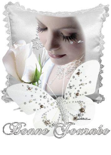 Bonne journée - Femme - Visage - Papillon - Gif scintillant - Gratuit