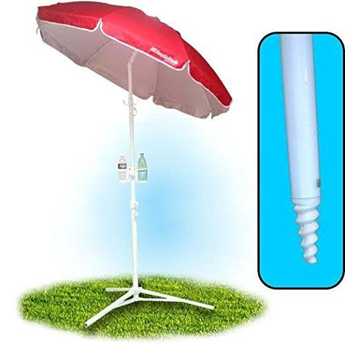 """5.5' EasyGoShadeâ""""¢ Red Portable Sun Shade Umbrella with Tripod Base, Beach Stake and Tilt Feature. Great for Soccer, Baseball, Football, Fishing and the Beach - Red Color * Continue to the product at the image link."""