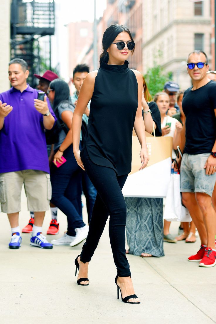 Selena Gomez in New York City on Aug. 20, 2015.   - Cosmopolitan.com.....cute all black outfit...im not really a fan of her but this outfit is tooo cute