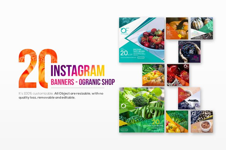 20 Instagram Organic Shop Banners by Wutip on Envato Elements