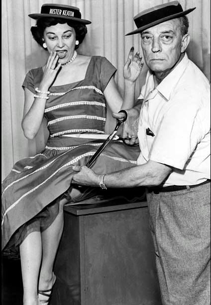 Kay Cannon with Buster in a publicity photo for The Buster Keaton Story, June 28, 1956