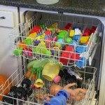 Clean toys in the dishwasher with vinegar! Use 1 1/2 - 2