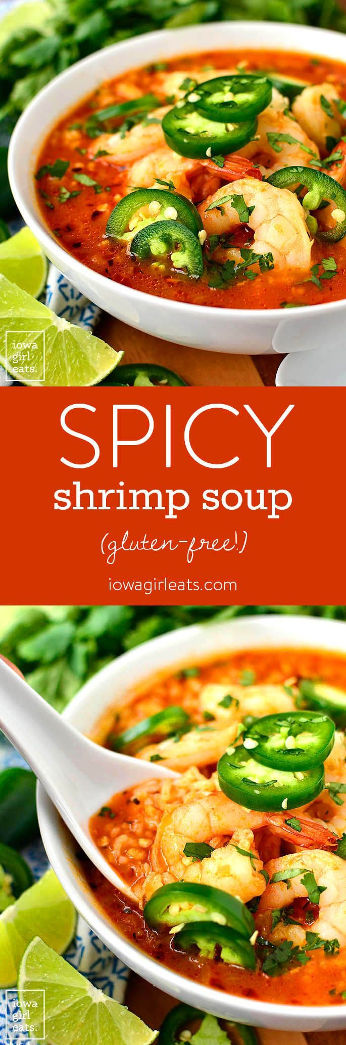 Spicy Shrimp Soup is a copycat recipe from our favorite Ecuadorian restaurant. Spicy, garlicky, and comforting, you will eat bowl after bowl of this easy soup recipe!  | iowagirleats.com #glutenfree