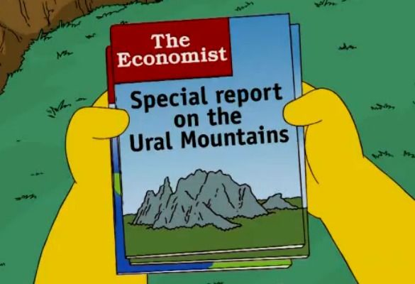 """theeconomist: """" Our friends at The Atlantic have rediscovered one of The Economist's rare appearances on The Simpsons. Barney borrows one of Homer's """"adult magazines"""" """" """"Special report on the Ural..."""