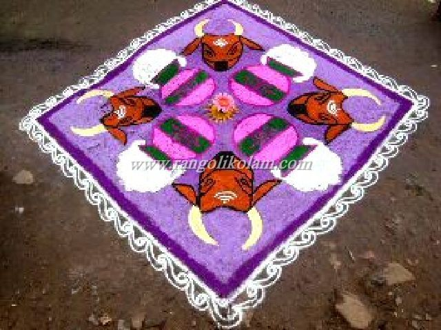 Thai mattu pongal  pulli kolam 18 dots 5 times and end with 5 dots in [straight line ]  Embellish your doorstep with Colorful Mattu Pongal Kolam Designs