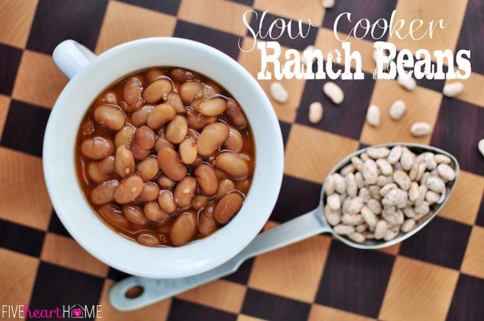 Slow Cooker Ranch Beans ~ adapted from Tom Perini | {Five Heart Home}