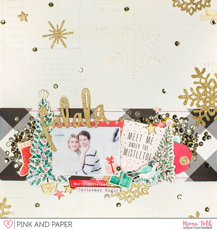 12x12 Christmas scrapbook layout created with Crate Paper Falala by Mona Tóth.