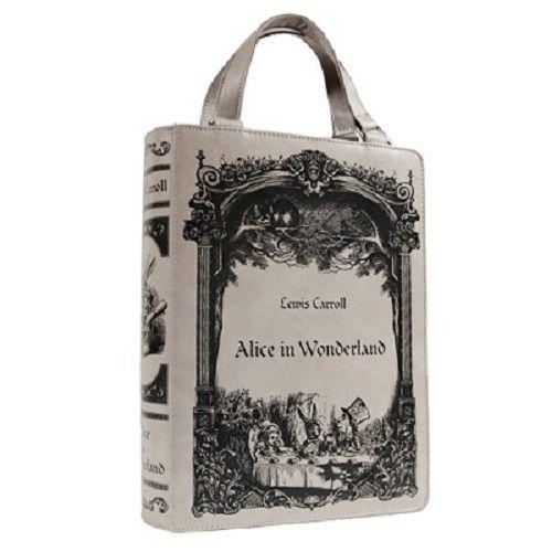 Alice In Wonderland boek tas grijs - Gothic Fantasy - Restyle