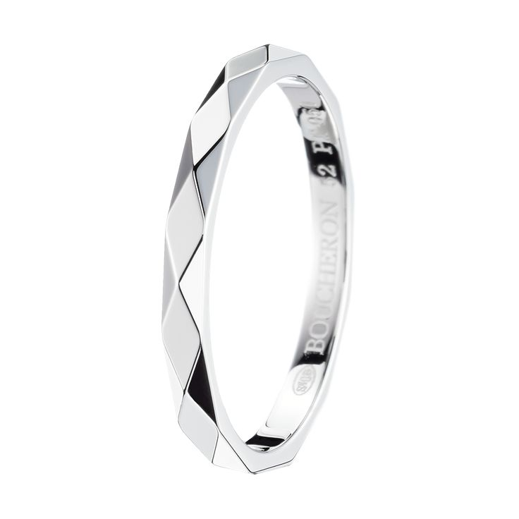 Facette Platinum Small Wedding Band, a Maison Boucheron Bridal creation.