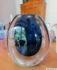 allmodern * VASE Vicke Lindstrand blue cased art glass Kosta/Sweden signed 50s