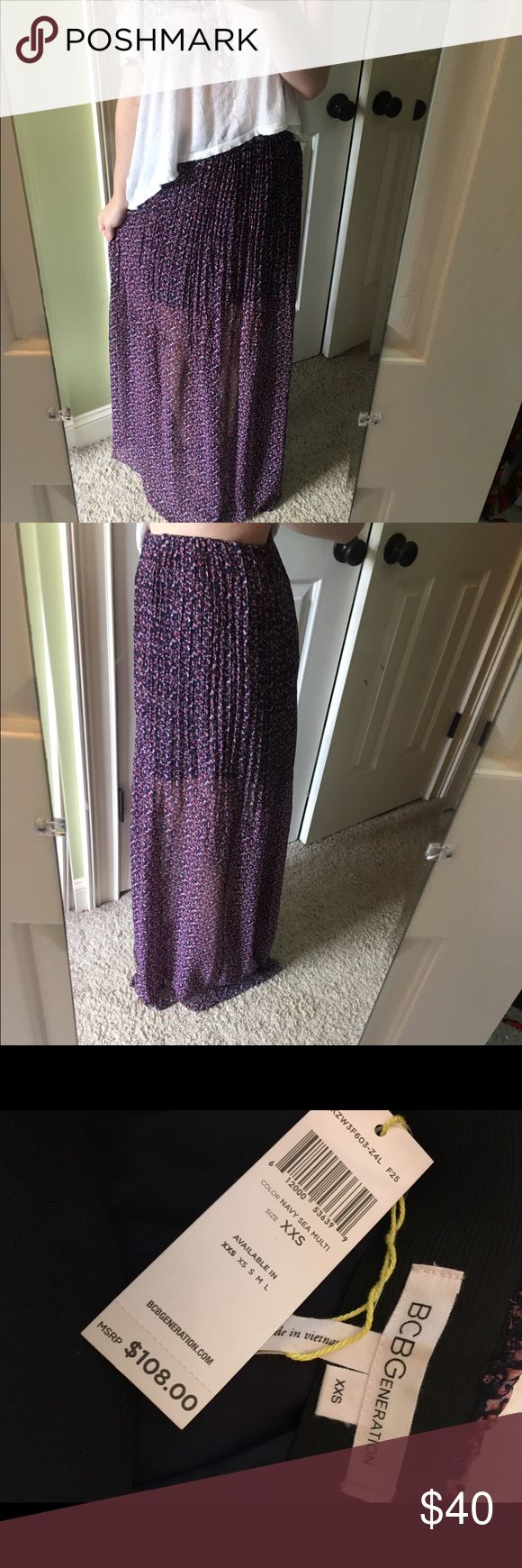 NWT BCBGeneration Maxi Gorgeous maxi skirt from BCBG generation. Tags still attached :-) in perfect condition. Comes with a slip and the floral outer layer is sheer. I am 5'3 and it hits right at the floor BCBGeneration Skirts Maxi