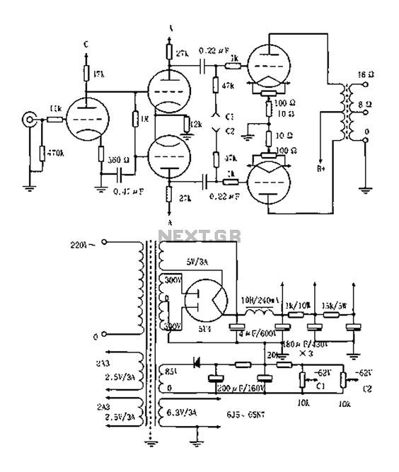 Vented 2a3p 2a3pp15w Tube Amplifier circuit diagram  schematic | Valve Circuits in 2019