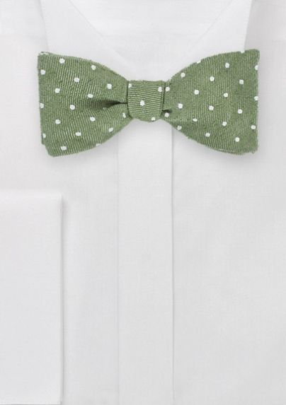 Polka Dot Patterned Designer Bowtie in Moss Green option 4