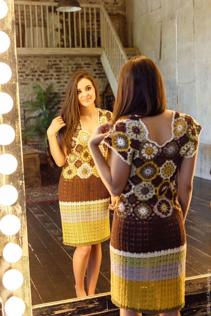Купить Платье Марта - комбинированный, оливковый, белый, коричневый, зеленый, платье летнее, платье коктейльное