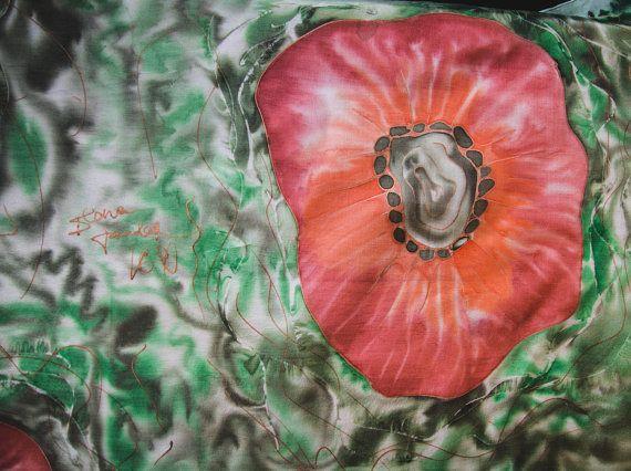Шарф с Большими Красными Маками Красные цветы от IlonaTuu на Etsy