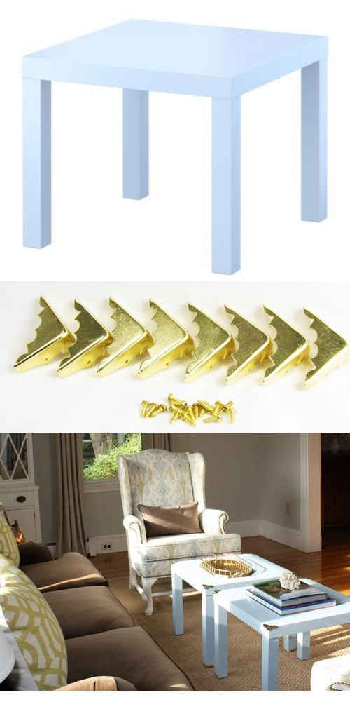 These brass corners ($5 for a set of 8 from Amazon ) will jazz up a LACK table ($10). | 37 Cheap And Easy Ways To Make Your IKEA Stuff Look Expensive