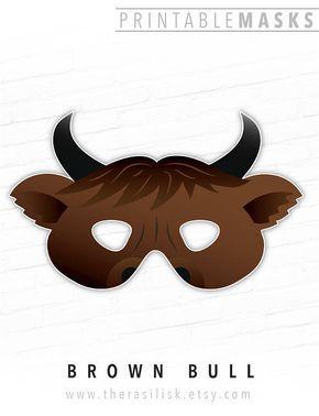 Mask Printable Brown Bull Ox Cow