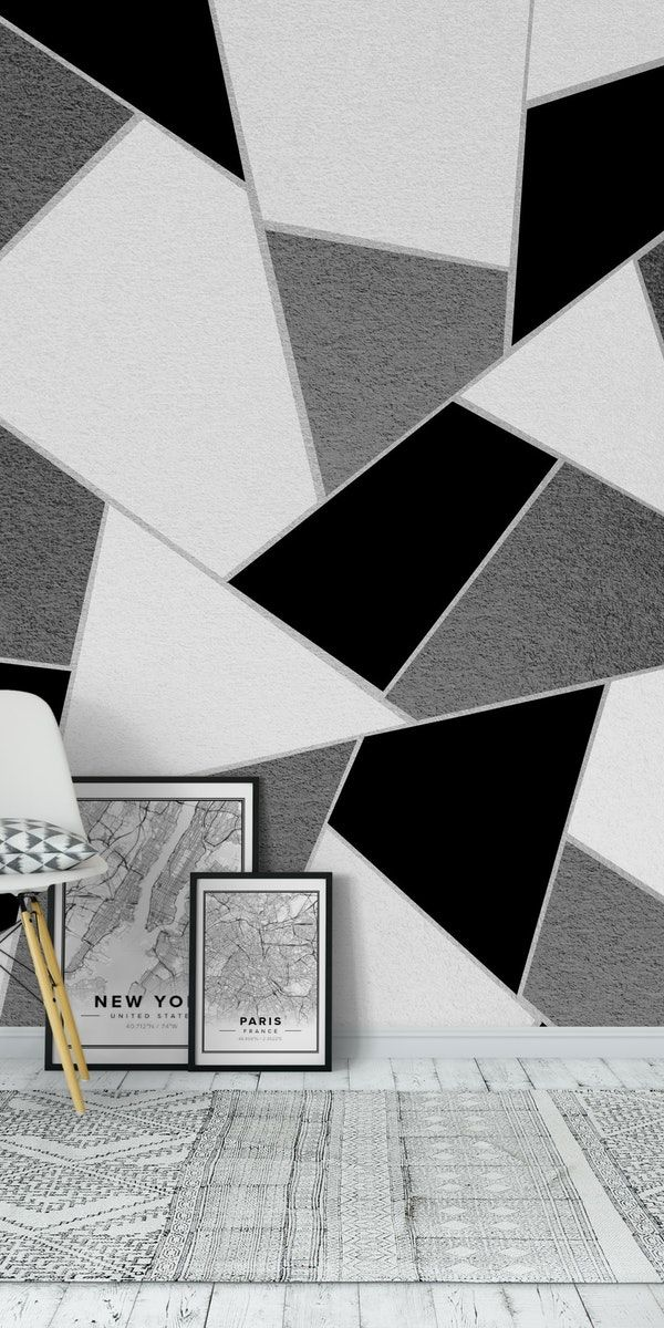 Black White Geometric Wall Design Featured In David Dobrick S House Tour Pin Theestory Bedroom Wall Paint Room Inspiration Boys Black And White Bedroom