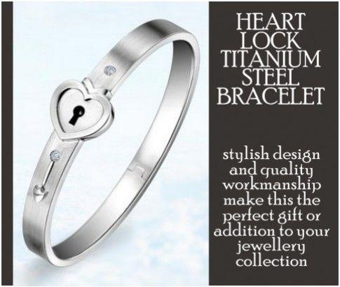 Heart Lock Titanium Bracelet