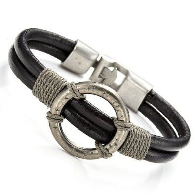 R&B Bijoux - Bracelet Homme - Style Vintage Romain - Cordons & Cercle Métal - Manchette Cuir et Acier (Noir, Argent). 13,90€