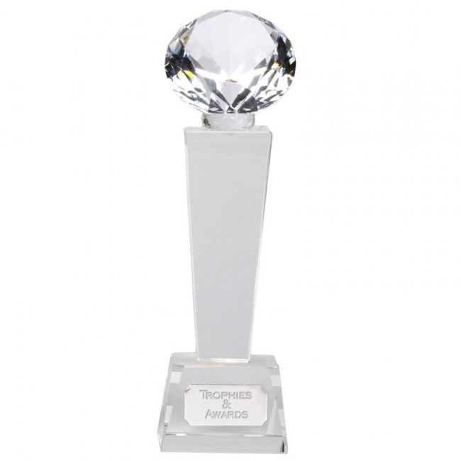 9 Inch Diamond Tower Phoenix Crystal Award