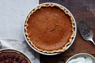 James Beard's Rich Pumpkin Pie Recipe on Food52 - might have to leave the candied ginger as a garnish for my picky crowd, but this looks really tasty!