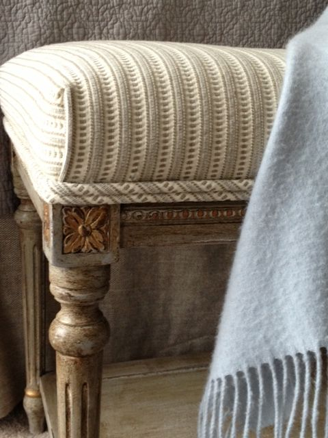 Handpainted antique bench with seersucker ticking by Lisa Gabrielson Design