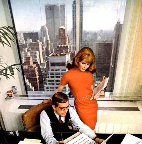 At the office, New York City, 1968.-- Wouldn't it be fun to take a cityscape from NY 1960s and have it as backdrop?