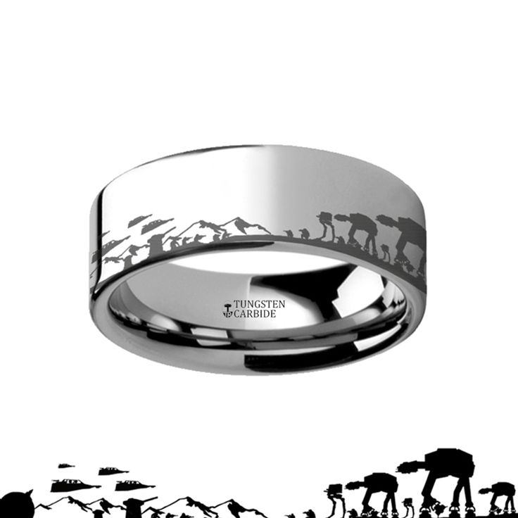 Hoth Battle Star Wars Alliance Galactic Imperial Invasion ATAT ATST Tungsten Engraved Ring – 4mm – 12mm