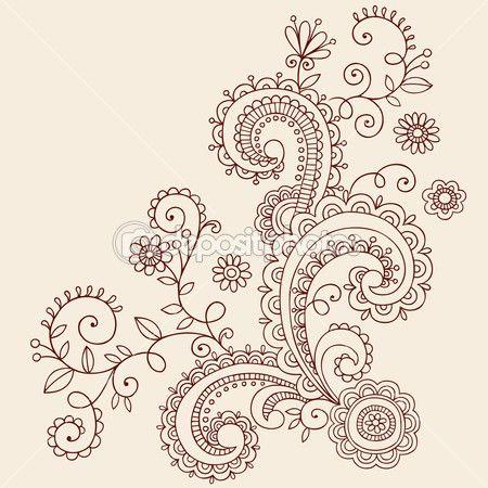 handgetekende bloemen, bladeren en wijnstokken abstracte paisley henna mehndi paisley floral tatoeage doodle-vector illustratie ontwerpelementen