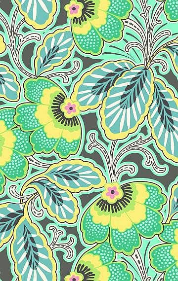 Amy Butler pattern floral green yellow