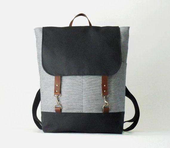 Unisex NAVY. Navy stripe denim  backpack with dark von BagyBags