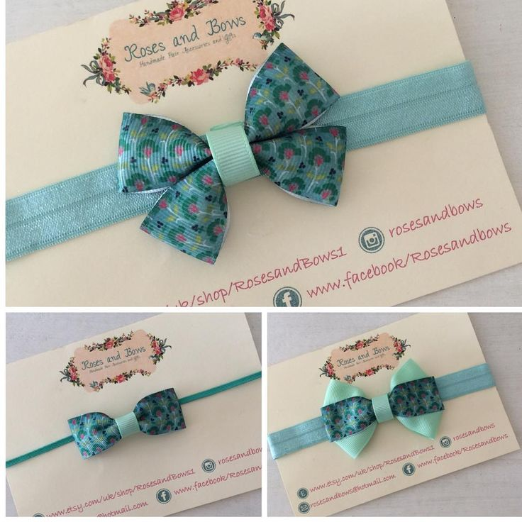 """This N111 mint print bow that is made to match Next's newborn range is now listed on etsy. Available in 3 different bow styles: pinch (2 1/2"""") £1.80 regular (2 1/2"""") £2.00 double layer (3"""") £2.50 Each one can be made on your choice of crocodile clip, skinny stretch band or regular stretch band. All bows are made to order so I can swap the band, centre or backing ribbons for any colours you'd like."""