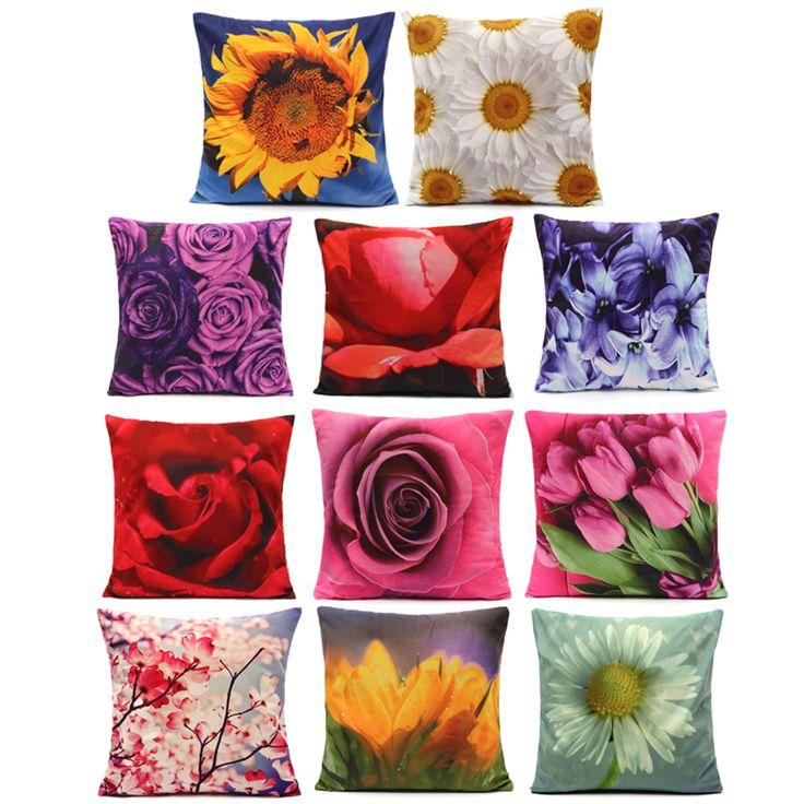 Colorful 3D Flower Series Short Plush Throw Pillow Case Home Sofa Car Cushion Cover Cheap - NewChic Mobile.