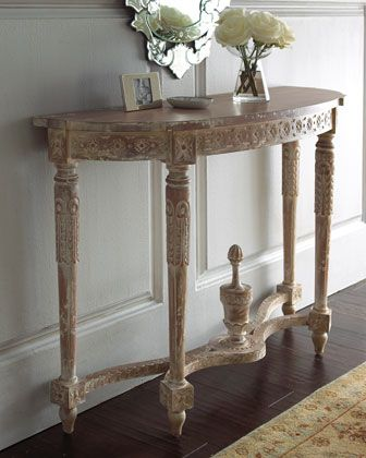Hand Carved Rosettes And Interlaced Ribboning Add Charm To This Louis XVI  Style Demilune Console. Made Of White Glazed, Plantation Grown Mahogany.