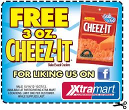 FREE Cheez-it Crackers at Xtra Mart on http://www.icravefreebies.com/