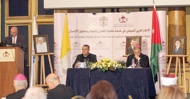 Former prime minister Faisal Fayez delivers an address at the closing ceremony of the 'Arab Christian Media at the Service of Peace, Justice, and Human Rights' conference in Amman on Tuesday (Petra photo)