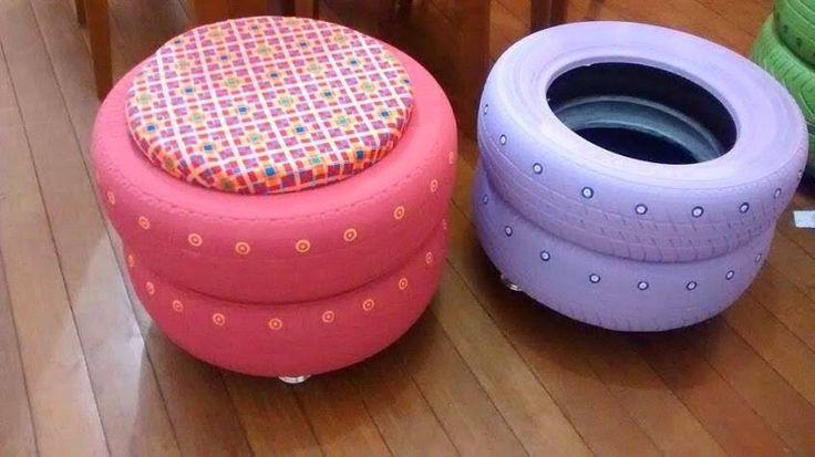 M s muebles con llantas tejidos pinterest muebles for Decoracion del hogar reciclaje