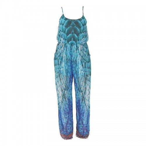 LONG JUMPSUIT IN BLUE-TURQUOISE PRINT MEDIUM