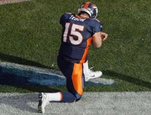 Twitter reaction to Denver Broncos quarterback Tim Tebow's 80-yard overtime touchdown pass Sunday night reached 9,420 tweets per second, placing the event in the number two spot on Twitter's most-tweets-per-second list.